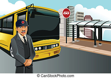 Bus driver - A vector illustration of a bus driver standing...