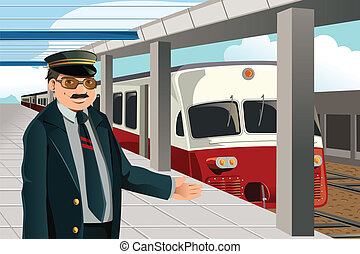 Train conductor - A vector illustration of a train conductor...