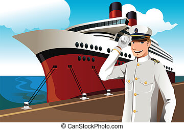Sailor - A vector illustration of a sailor in front of a big...
