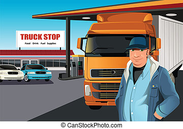Truck driver - A vector illustration of a truck driver at a...