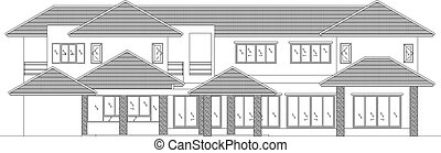 elevation house vector - elevation house drawing line...