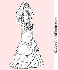 Bride with a wedding bouquet - Sketch of pretty bride in a...