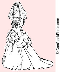 Bride in a wedding gown - Sketch of beautiful bride in a...