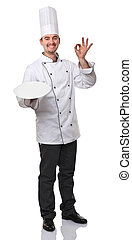 chef - portrait of caucasian chef on white