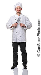 chef at work - portrait of caucasian chef on white