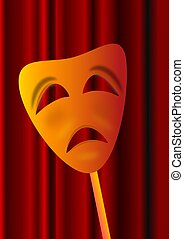 Theatre mask - The sad theatrical mask the burgundy curtain
