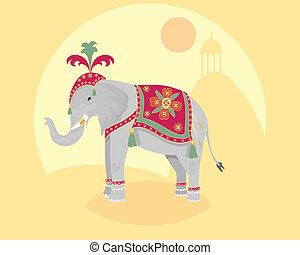 indian elephant - an illustration of a ceremonial indian...