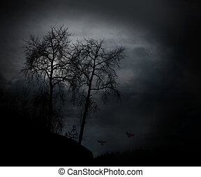 spooky bare trees - silhouette of bare trees at sunset with...