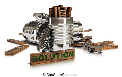Word solution written onto a wooden piece with amany opended tins and a can opener over a white background