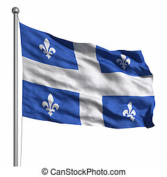 Flag of Quebec. Rendered with fabric texture (visible at...