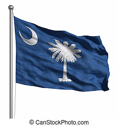 Flag of South Carolina. Rendered with fabric texture...