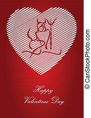 valentine postcard - silhouette of woman Devil on heart...