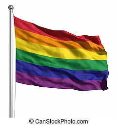Gay Pride Rainbow Flag Rendered with fabric texture visible...