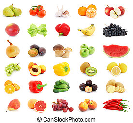 Fruits and vegetables - Collage of different fruits and...
