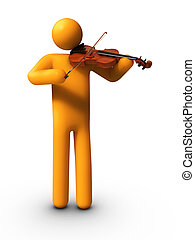 Playing Violin - 3D rendered stick figure playing Violin.