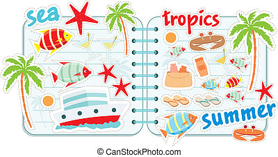 Scrapbook elements with tropics