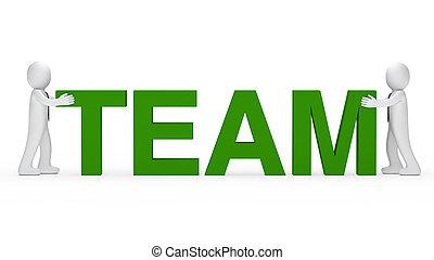 business men green team word