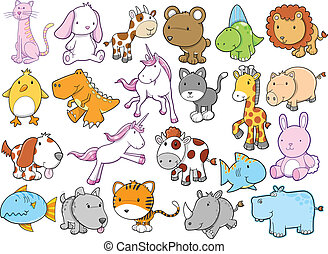 Cute Animal Wildlife Vector set - Cute Animal Wildlife...