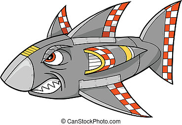 Robot Cyborg Shark Vector Illustration