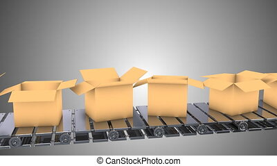 Cardboard boxes moving on conveyor belt, loopable