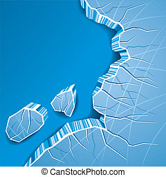 Cracked Ice Background - Blue Cracked Ice Background. Vector...