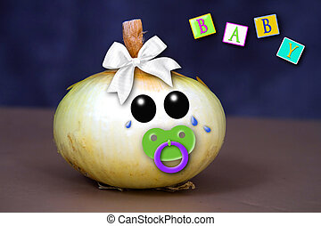 Crying Baby Onion - Baby Onion crying and text blocks -...