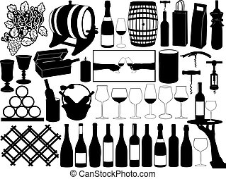 Wine set - Collection of wine objects isolated on white