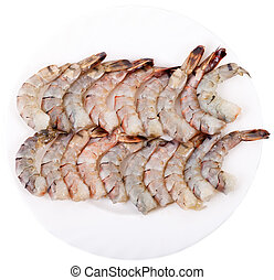 Plate with Tiger Prawns - Plate with a Peeled Raw Tiger...