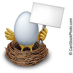 jajko, w, gniazdo, dzierżawa, czysty, znak