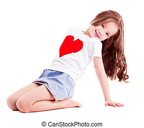 cute girl - cute six year old girl wearing a T-shirt with a...
