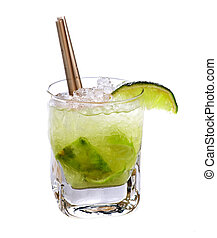 Caipirinha cocktail drink isolated on white background
