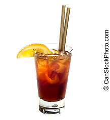 Cuba Libre - Cuba libre cocktail drink isolated on white...