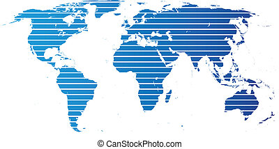 World map With Continents - Blue map on white