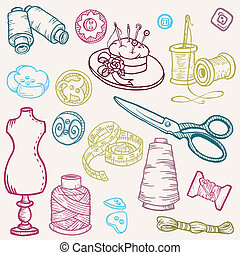 Sewing Kit Doodles - hand drawn design elements in vector