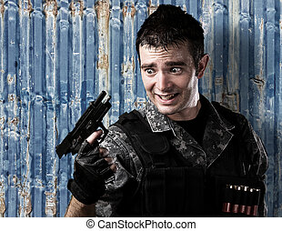 soldier reload fail - portrait of young soldier reload fail...