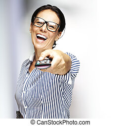 middle aged woman - portrait of middle aged woman laughing...