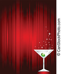 Sparkling Martini - Sparkling martini on dark red gradient...
