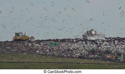 UK landfill site in action - Uk landfill site with machinery...