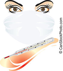 Mask and medical thermometer Vector illustration