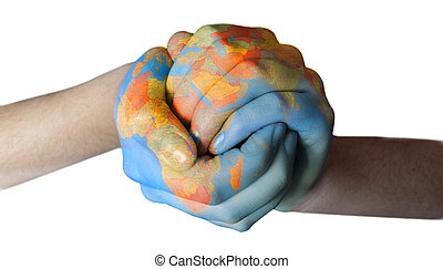 world painted on hands - globe painted on closed hands