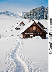 Winter landscape with small hut