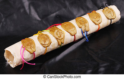 scroll - A papyrus role with seven seals on black background