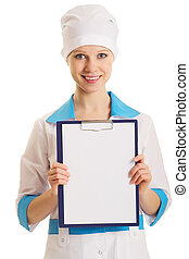 nurse with an advertising tablet