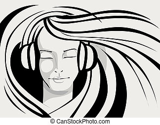 Lady Enjoying Music - illustration of lady enjoying music in...