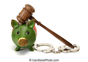 Legal Expenses - A pig bank, handcuffs, and a mallet...