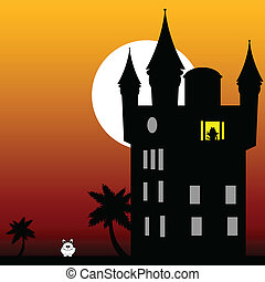 castle in the twilight with white rabbit