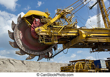 Coal mine excavator - Giant excavator in open-cast coal mine...