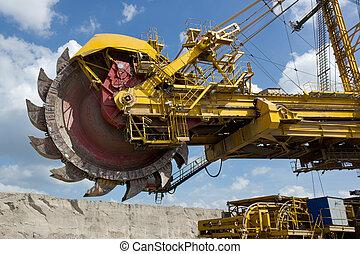 Coal mine excavator - Giant excavator in open-cast coal mine...