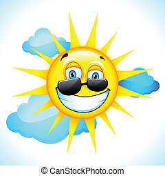 Smiling Sun - illustration of summer sun smiling beyond...