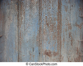 old wooden surface with cobweb and peeling crack blue paint...